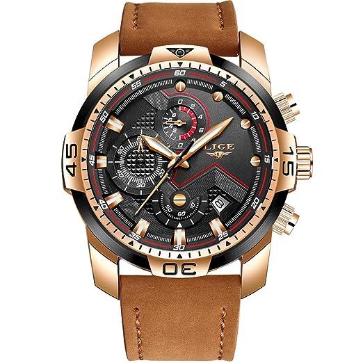 LIGE Relojes para Hombre De Lujo Militar Impermeable Deporte Cuarzo Analógico Reloj Gents Cronógrafo Fecha Calendario Cuero Marrón Reloj de Pulsera: ...