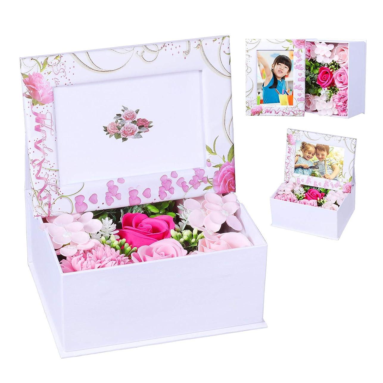 パブ最大限のバラ型ソープフラワー ハートフラワー形状ギフトボックス 誕生日 母の日 記念日 先生の日 バレンタインデー 昇進 転居など最適としてのプレゼント