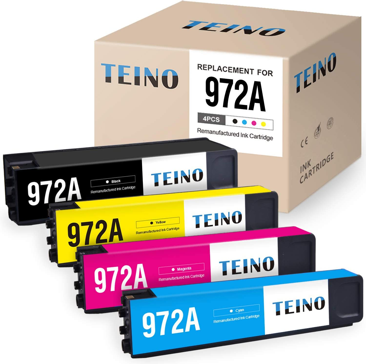 TEINO Remanufactured Ink Cartridges Replacement for HP 972A 972 XL Use with Pagewide Pro 452dn 452dw MFP 577dw 477dw 477dn Managed P57750dw (1 Black, 1 Cyan, 1 Magenta, 1 Yellow, 4-Pack)