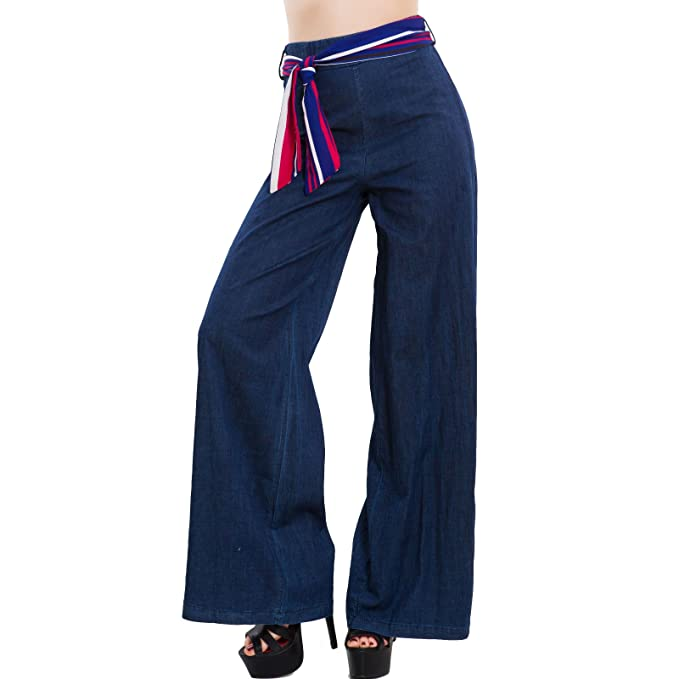 27263e9365 Toocool - Pantaloni Donna Palazzo Effetto Jeans Vita Alta Cinta Flare  Eleganti GI-8117