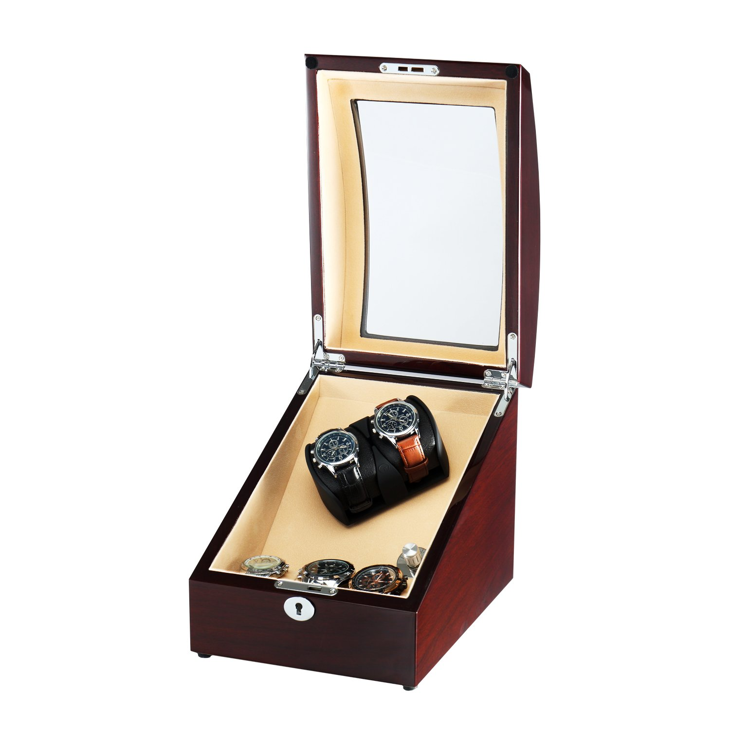 OLYMBROS Wooden Automatic Double Watch Winder with Storage Box for 2+3 watches