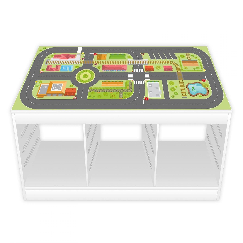 nikima - Spielfolie/Möbelfolie für Ikea TROFAST Stadtleben Aufkleber Sticker Kinderzimmer Spieltisch (Möbel Nicht Inklusive)