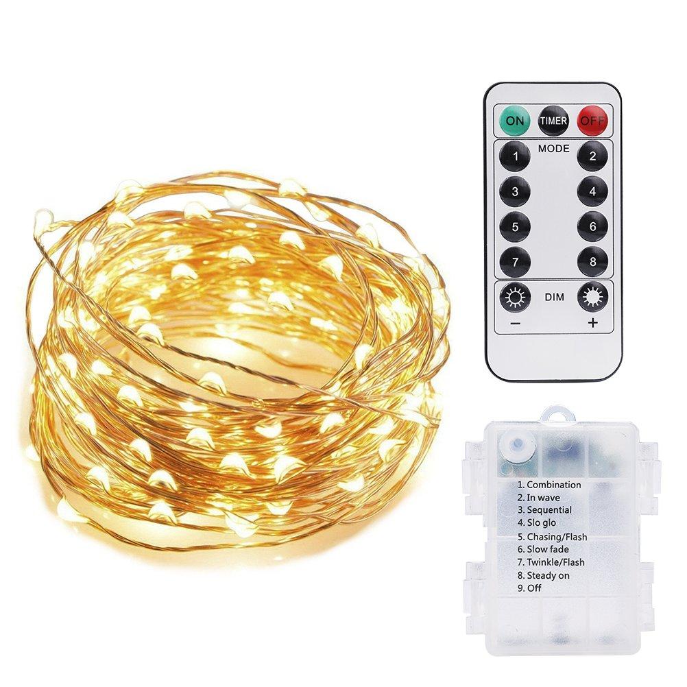 Vicloon LED Lichterkette Kupferdraht, Wasserdicht Sternenlicht mit Fernbedienung,Outdoor-Starry-Schnur-Licht für Garten, Wohnungen, Tanzen, Weihnachtsfeier,5M/50 LED [Energieklasse A++]