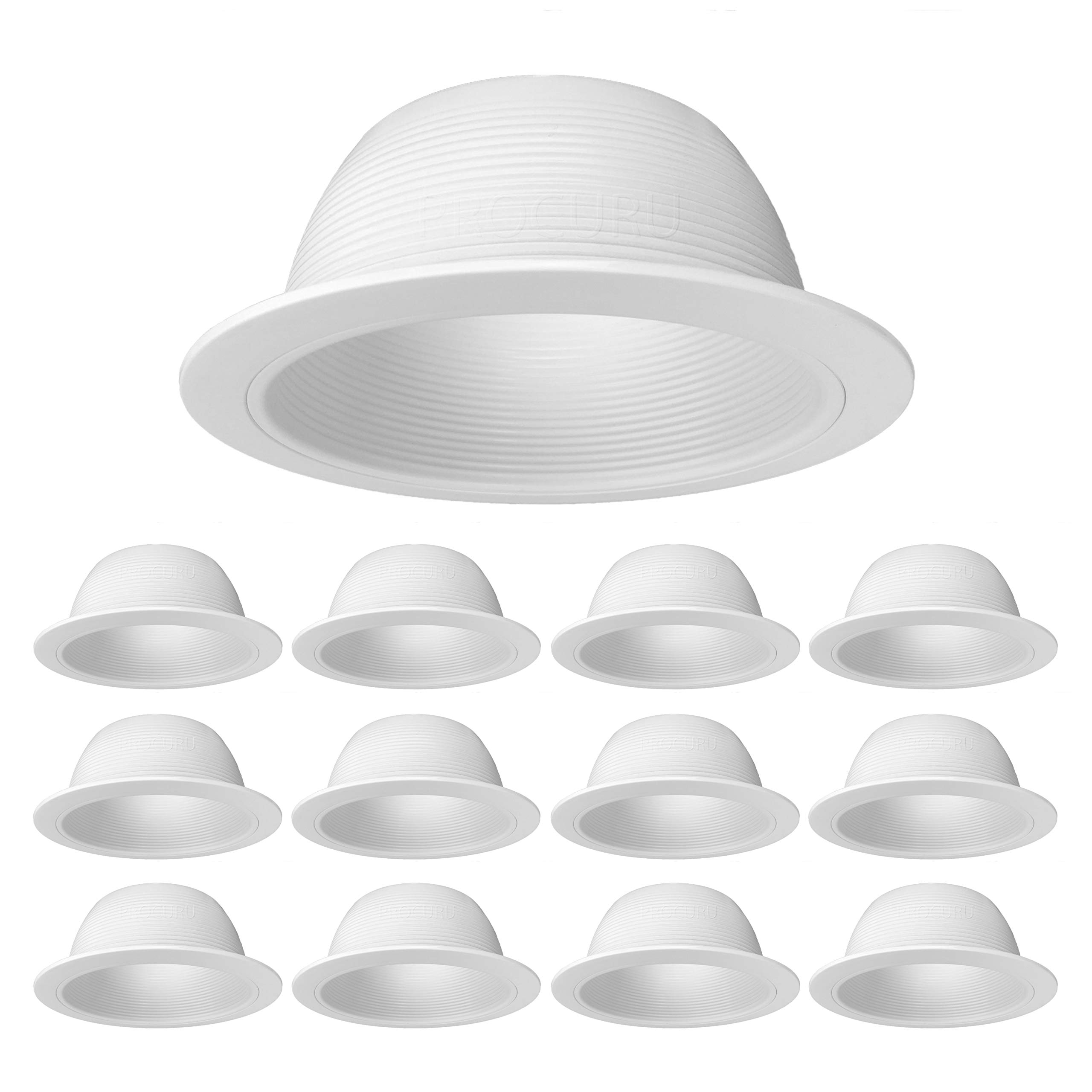 [12-Pack] PROCURU 6'' White Baffle Metal Recessed Can Light Trim - for BR30/38/40, PAR30/38/40 LED, Incandescent, CFL, Halogen (White (12-Pack))