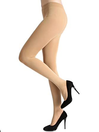 b1ef81f803dd2d AMORETU Damen Undurchsichtige Leggins Strumpfhose Schwarze/Hautfarbene 120D