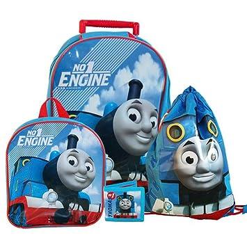 Set de Viaje para Niños | 4 Piezas | Thomas y sus Amigos | Mochila de Trolley: Amazon.es: Juguetes y juegos