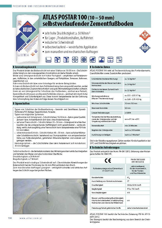 500 ATLAS POSTAR 100 selbstvelaufender Ausgleichsmasse10-50 mm hohe Druckfestigkeit
