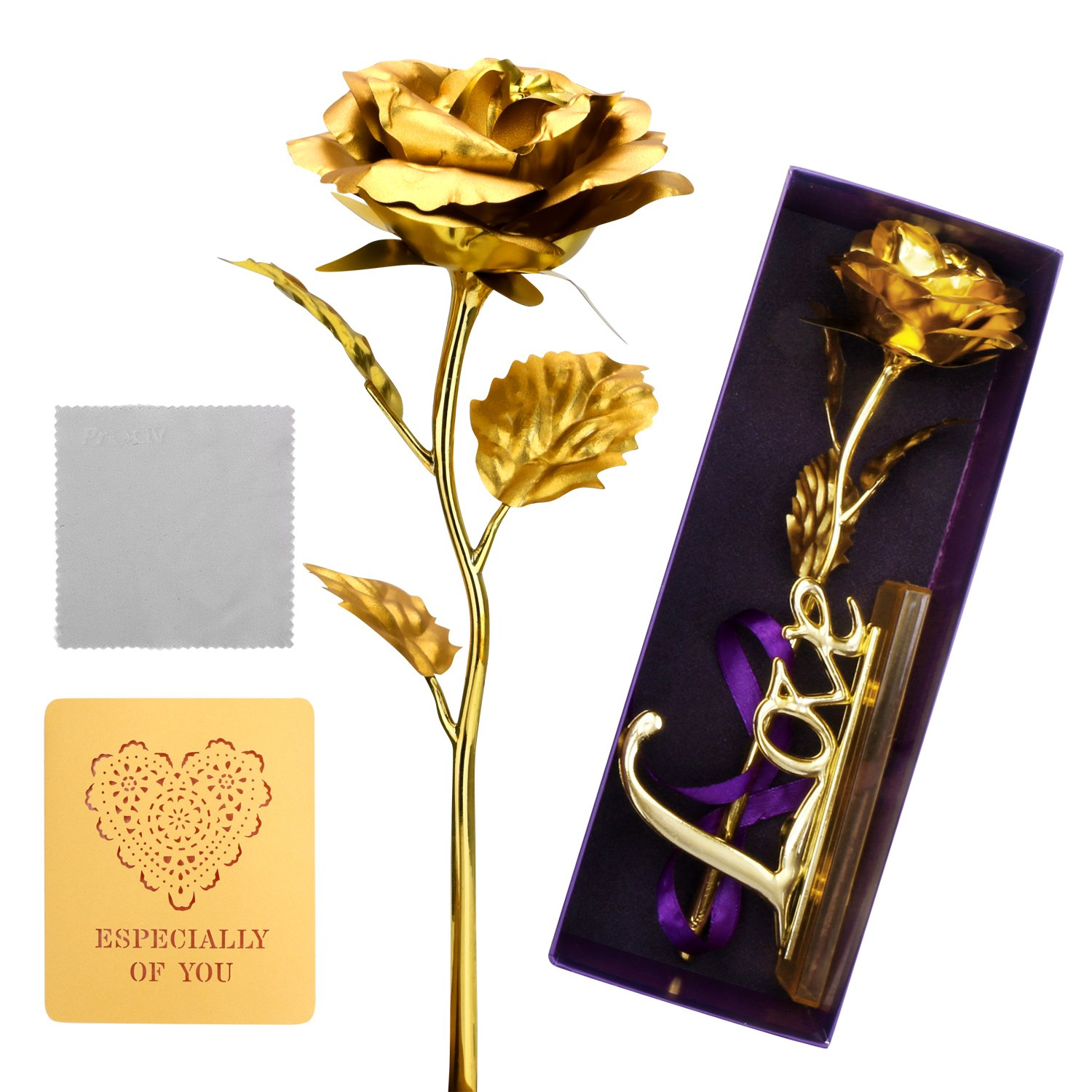 ProCIV Gold Roses, 24K Gold Foil Decoration Artificial Rose Flowers in Gift Box, Best Gift for Mother's Day, Valentine's Day, Wedding Day, Birthday, Christmas, Thanksgiving, Home Decor by ProCIV (Image #1)
