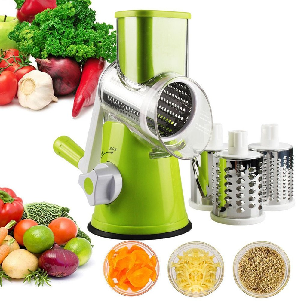 Fontic Multifunction Mandoline Vegetable Slicer, Efficient Manual Rotary Round Drum Vegetable Chopper Cheese Grater with 3 Cylindrical Interchangeable Stainless Steel Blades Safety Hand Guard (Green) Manufacturer