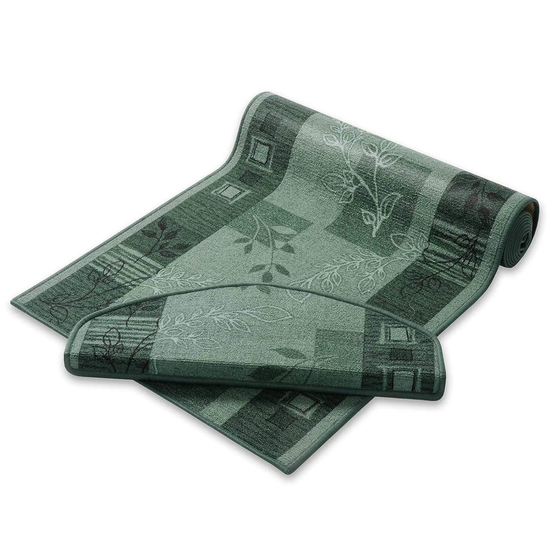 Casa pura Teppich Läufer grün mit Pflanzenmusterung   Qualitätsprodukt aus Deutschland   Gut Siegel   Kombinierbar mit Stufenmatten   3 Breiten und 27 Längen (80 x 450cm)