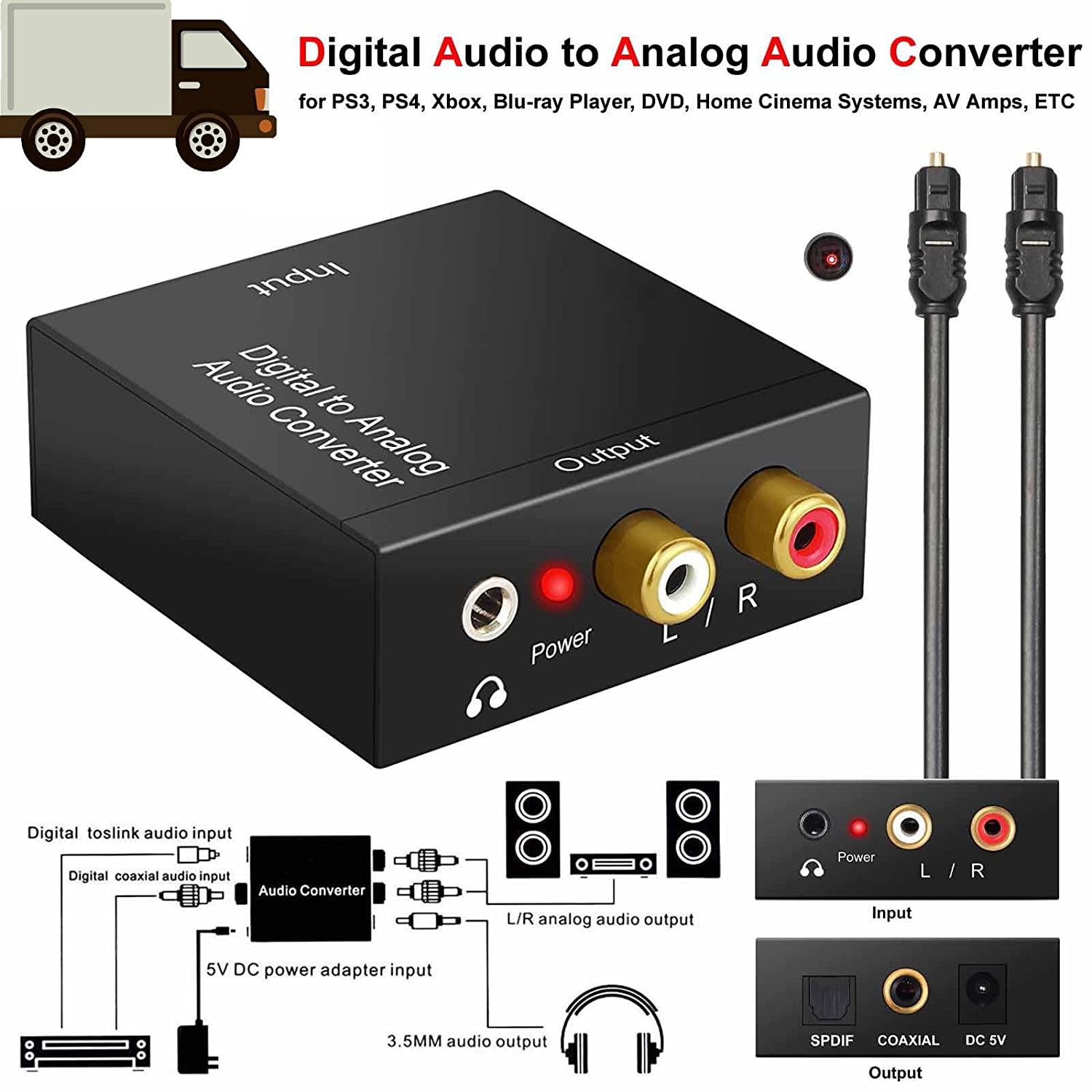 Amazon.com: TOOGOO AC Digital Optical Toslink SPDIF Coax to Analog L/R RCA Audio Converter: Home Audio & Theater