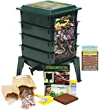 "Worm Factory 360 Worm Composting Bin + Bonus ""What Can Red Wigglers Eat?"" Infographic Refrigerator Magnet (Green) - Vermicomposting Container System - Live Worm Farm Starter Kit for Kids & Adults"