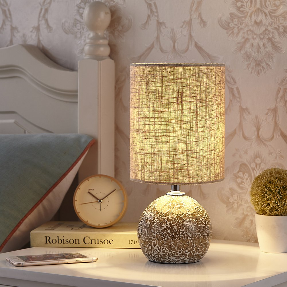 """Bedside Table Lamp Desk Lamp - 12.5"""" H Mini Nightstand Lamp Mosaic Bedroom Night Lamp Small End & Side Table Lamp Cute Bed Lamp with Drum Shade for Living Room Reading Kids Nursery, Boderrio Best New"""
