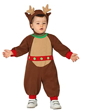 Atosa-28854 Atosa-28854-Disfraz Reno niño bebé-Talla Navidad, Color marrón, 6 a 12 Meses (28854