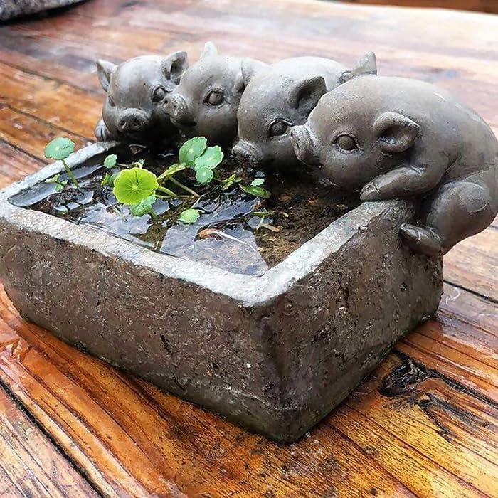 Garden Statue Animal Sculpture Adorable Pigs Planter with Drain Hole,Outdoor Piggy Statue Garden Decor,Vintage Animal Sculpture for Home Garden Lawn Art Accent No Holes 19x13x10cm(7x5x4inch)