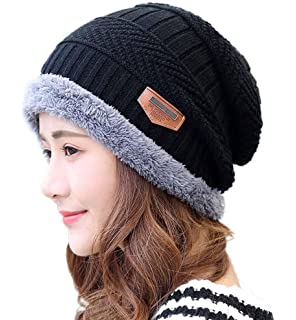 6a29d1ab85de3e HINDAWI Slouchy Beanie Gloves for Women Winter Hat Knit Warm Snow Skull Cap  Touch Screen Mittens