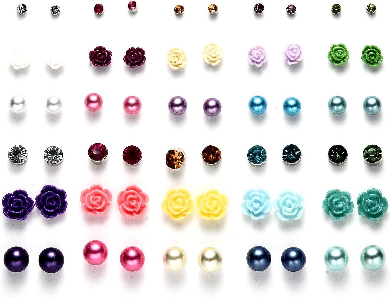 Onnea 30 Pares Set Stud Pendientes Cristales Perla Bola Flor Colores para Niñas Mujer, Antialergicos