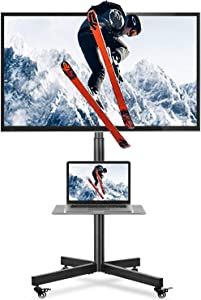 5Rcom Mobile TV Cart TV Floor Stand with Rolling Locking Wheels and Tilt Mount for Most 27-60 Inch Plasma LCD LED Flat Screen or Curved TVs Monitors Display Trolley Stand with Shelf Height Adjustable