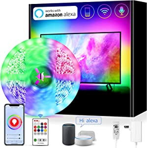 Smart WiFi LED Strip Lights Work with Alexa ,16.4ft TV LED Backlight 75 80 Inch TV Light Strip App Controlled with Remote, Colors and 6500K Pure White, Google Home IFTTT Enabled (Non USB Powered)