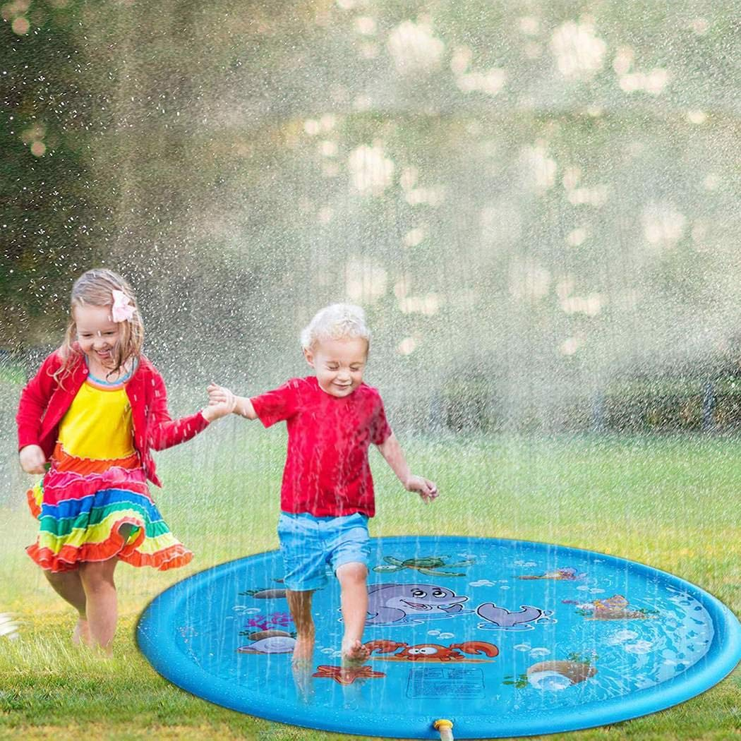 rungoi 170cm Kids Sprinkle and Splash Play Mat Pad Toy Inflatable Outdoor Sprinkler Pad Water Pad Toys for Children Infants Toddlers Boys Girls
