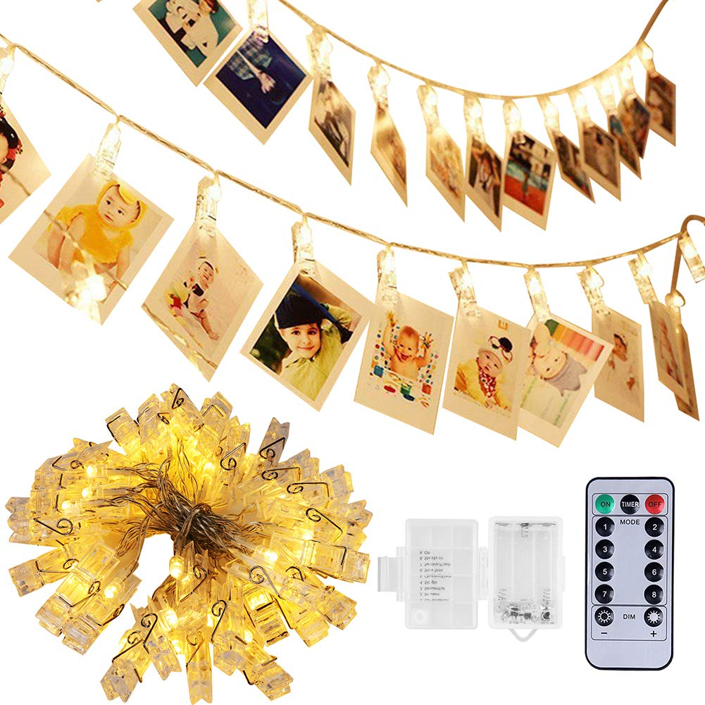 [Remote & Timer] 40 LED Photo String Lights - Adecorty Battery Operated Photo Clips Lights with 8 Modes, Twinkle Fairy String Lights, Ideal Gift for Christmas Wedding Dorm Bedroom Decor,Warm White by Adecorty