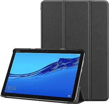 3-Plegable Cuero Funda para Huawei MediaPad T5, 10-Pulgadas FOL PU Ultra Ajustado Protector Auto Dormir/Despertar Magnético Flip Tableta Estuche para Media Pad T5 10,1 2018 Cáscara (Negro): Amazon.es: Electrónica