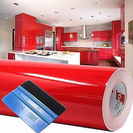 Finest Folia (1,98 €/m²) 10 m Lámina para Trazar Plotter Film Película Adhesiva Hoja de Muebles Brillante Escobilla de Goma Incluida (Rojo, Alto Brillo): Amazon.es: Hogar