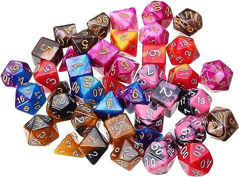 DyNamic Juego De Dados Poliédricos De 42 Piezas Juego De Dados De Varios Lados Para Mazmorras Y Dragones Dnd Mtg Rpg D4-D20 Juego + Bolsa: Amazon.es: Juguetes y juegos