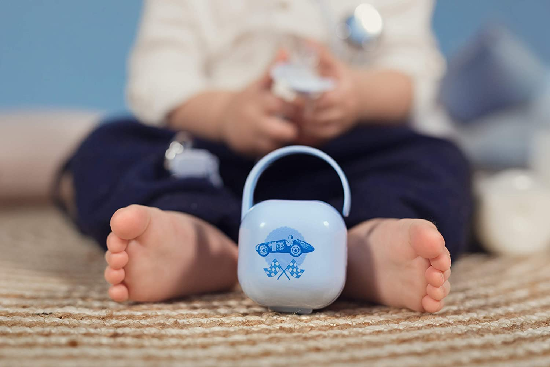 Suavinex 302268 - Portachupete para Bebé. para Llevar 2 Chupetes, Caja Portachupetes Portátil, Funda para Chupetes, Diseño Vintage, Color Azul: Amazon.es: Bebé