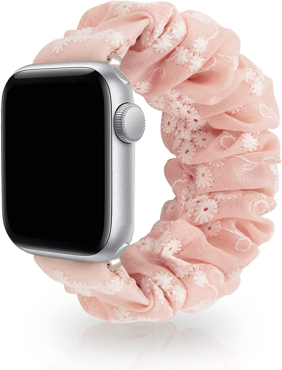 SAMYERLEN Compatible with Scrunchie Apple Watch Band 38mm 42mm 40mm 44mm for Women, Embroidery Elastic Watch Strap for iWatch Series SE 6 5 4 3 2 1, Cute Wristbands (S-38/40 Pink)