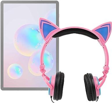 DURAGADGET Auriculares Plegables estéreo con diseño de Orejas de Gato en Color Rosa Compatible con Tablet Samsung Galaxy Tab A 10.1
