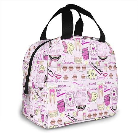 con bolsillo frontal ZYWL Antcreptson bolsa de almuerzo reutilizable para viajes de trabajo, para mujeres y hombres organizador Bolsa de almuerzo con aislamiento dental para dentista y dientes