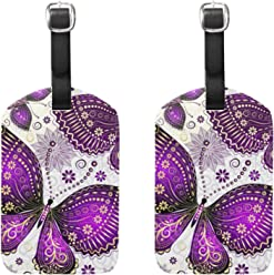 e723b3611c COOSUN Purple Violet Butterfly Luggage Tags Travel Labels Tag Name Card  Holder for Baggage Suitcase Bag