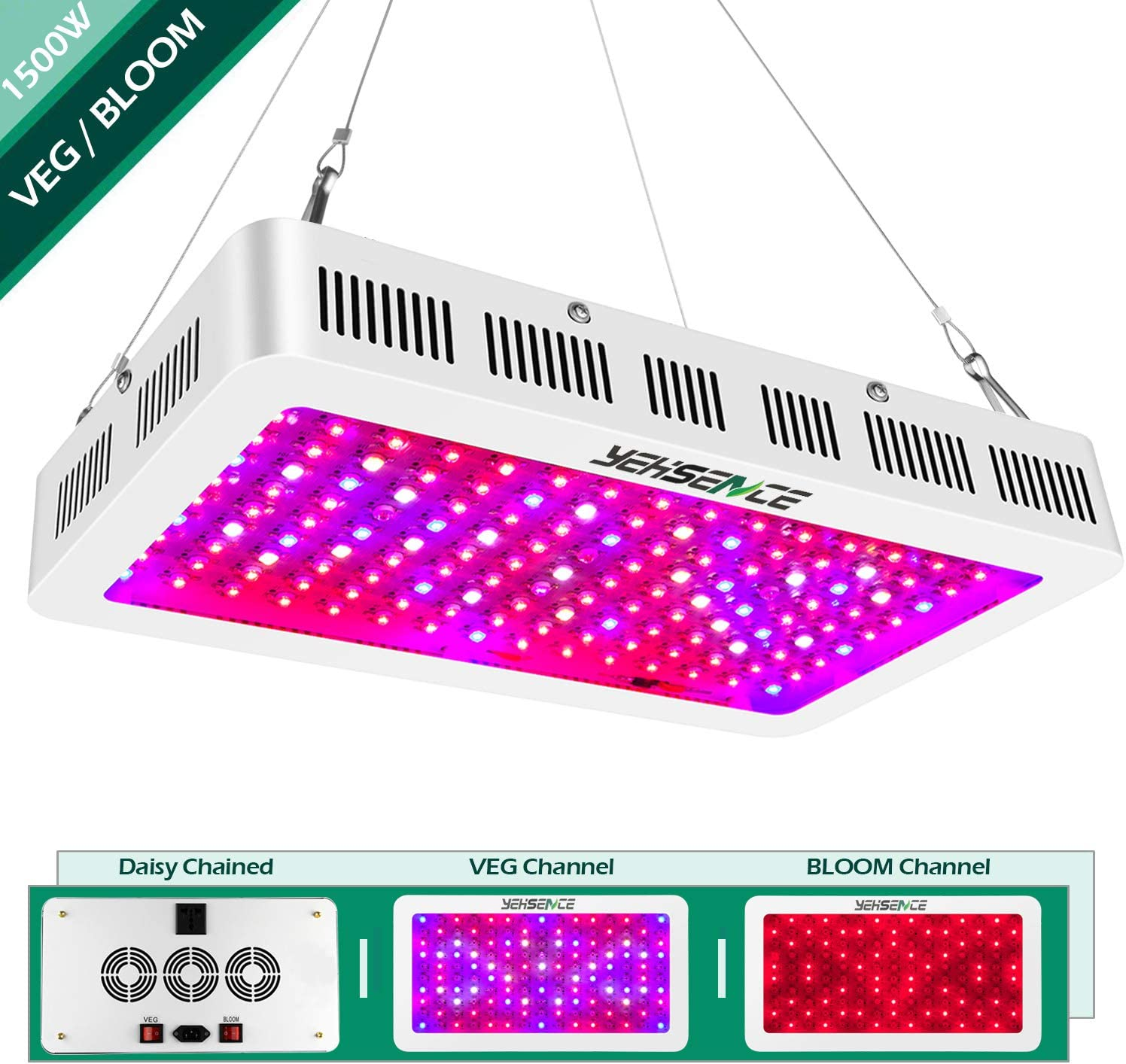 Yehsence 1500w LED Grow Light with Bloom and Veg Switch, 15W LED Triple-Chips LED Plant Growing Lamp Full Spectrum with Daisy Chained Design for Professional Greenhouse Hydroponic Indoor Plants