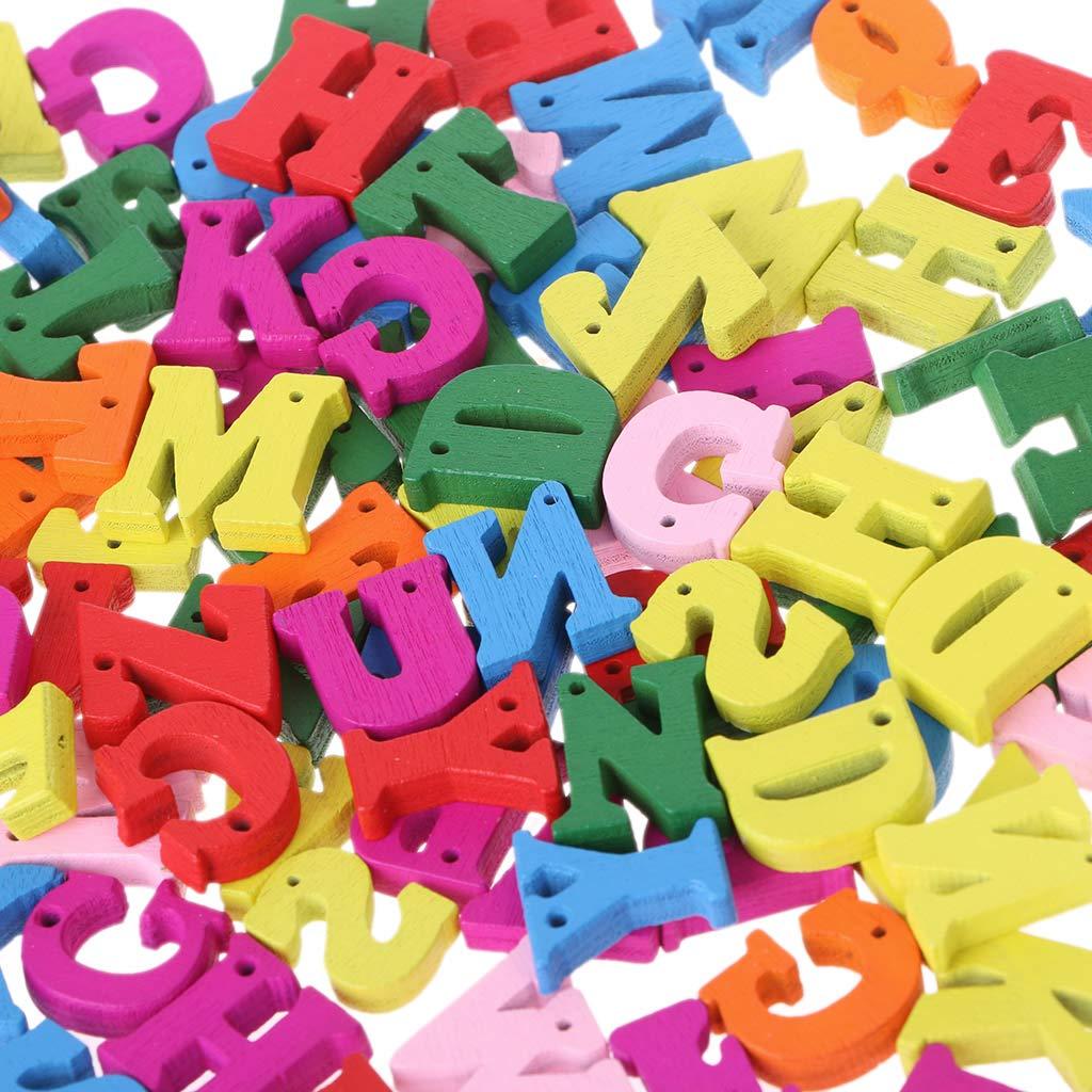 Palabra del Alfabeto Carft Bot/ón de decoraci/ón DIY Juguete Educativo para ni/ños Alfabeto Scrabble SimpleLife Letra de Madera 100 Piezas