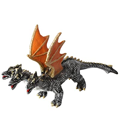 "Rainbow yuango 18"" 5"" 10"" Three Headed Dragon Godzilla Movie Monster Series Dinosaur Model Action Figure Toy Soft Vinyl Plastic for Kids (Silver): Toys & Games"