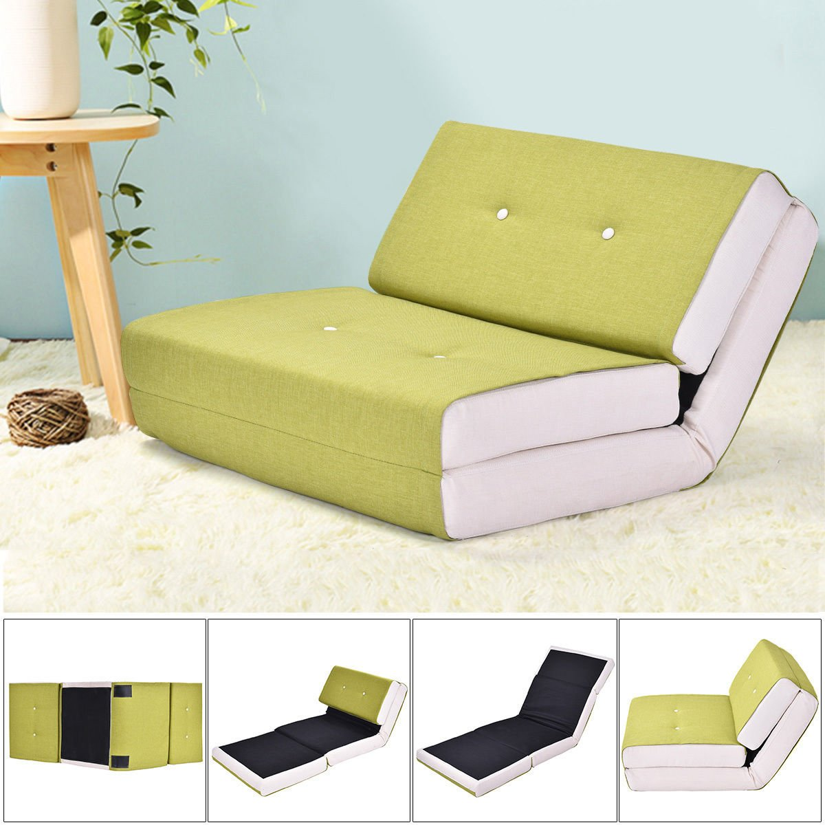 Fold Down Chair Flip Out Lounger Convertible Sleeper Bed Couch Game Dorm Green by Tumsun (Image #2)