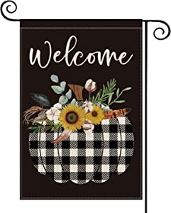 AVOIN Welcome Buffalo Check Plaid Pumpkin Fall Garden Flag Vertical Double Sized Sunflower Cotton Feather, Autumn Thanksgiving Holiday Yard Outdoor Decoration 12.5 x 18 Inch