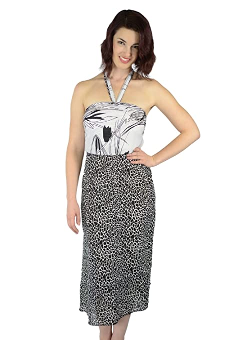 ab4b778274 Iris Impressions Fiji Floral Poly-Blend Long Skirt/Dress - Convertible,  Fits Sizes 0 To 22 - Instructional DVD included - Black & White at Amazon  Women's ...
