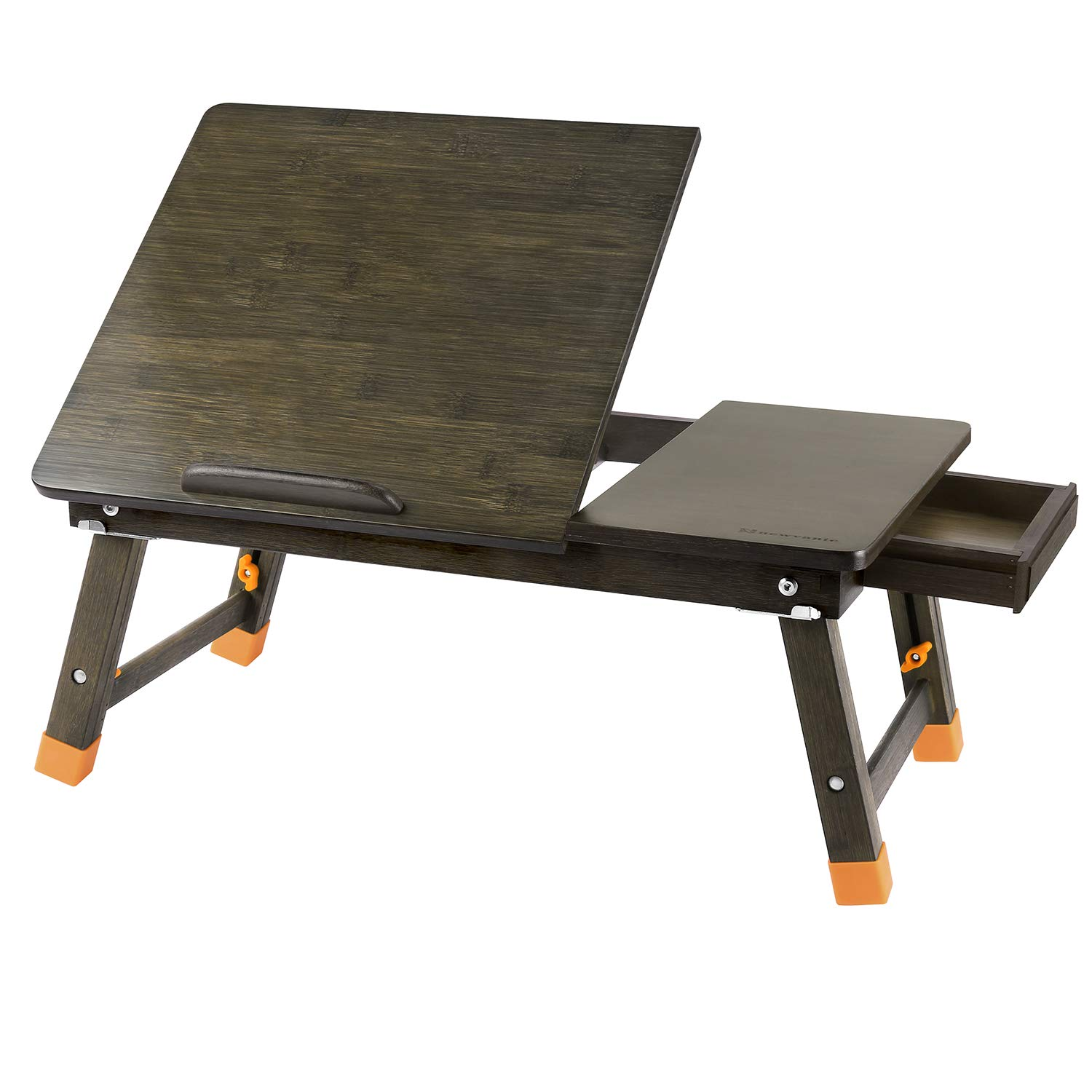 Laptop Desk Large Nnewvante Table Adjustable 100% Bamboo Foldable Breakfast Serving Bed Tray Table w' Tilting Top Drawer-Bronze