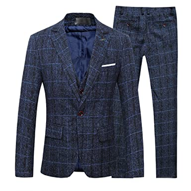 2bf4013f787a Cloudstyle costume homme formel d affaire smoking blazer à carreaux un bouton  cintré slim fit