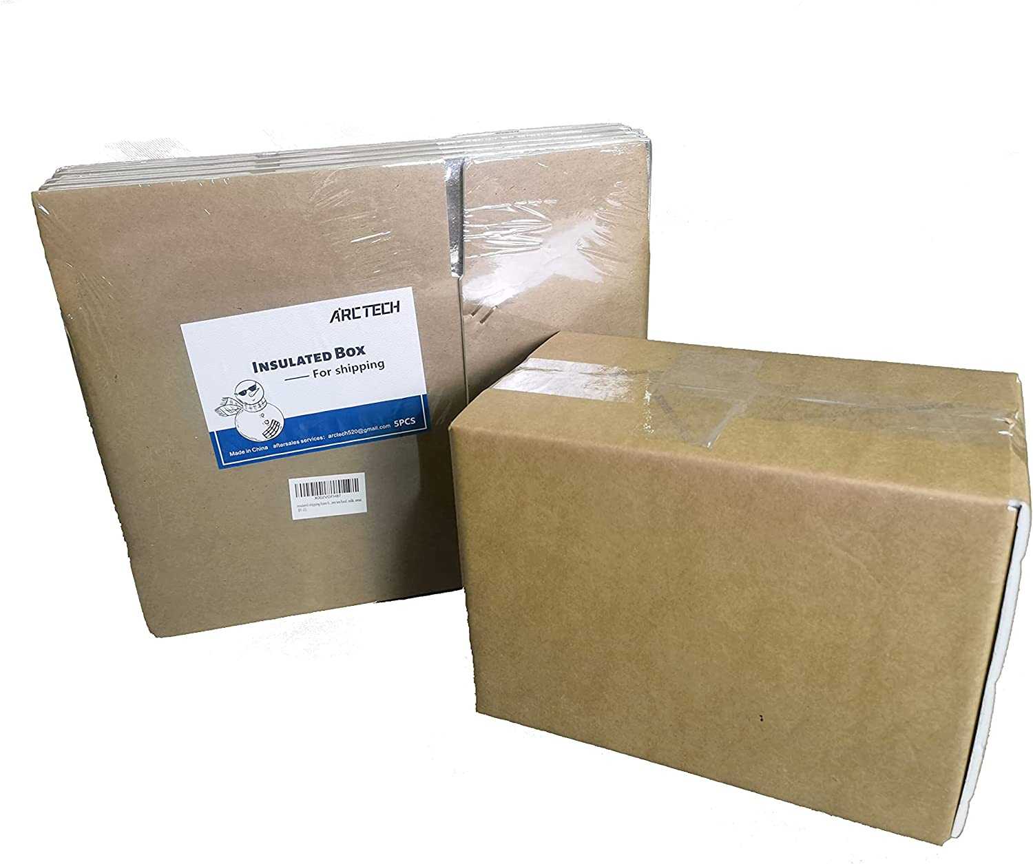 ARCTECH insulated shipping foam Aluminum foil box X 5packs , small size useful space 9X4.7X6'' Insulated delivery mail mailing carton for fresh, frozen sea food, milk, meat.