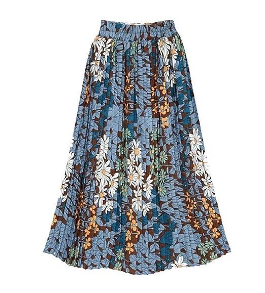 Doufine Falda de Cintura Alta con Estampado de Flores Azul Azul ...