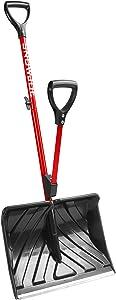 Snow Joe SJ-SHLV20-RED Poly Back-Saving Telescoping Snow Shovel, Red