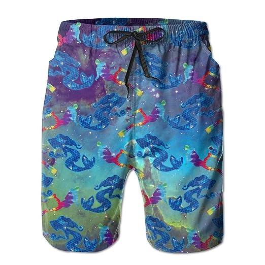 da3dc8e55b Men's Glitter Scale Mermaid Scuba Diving Tropical Quick Dry Board Shorts  Bathing Suits Swimwear Volley Beach
