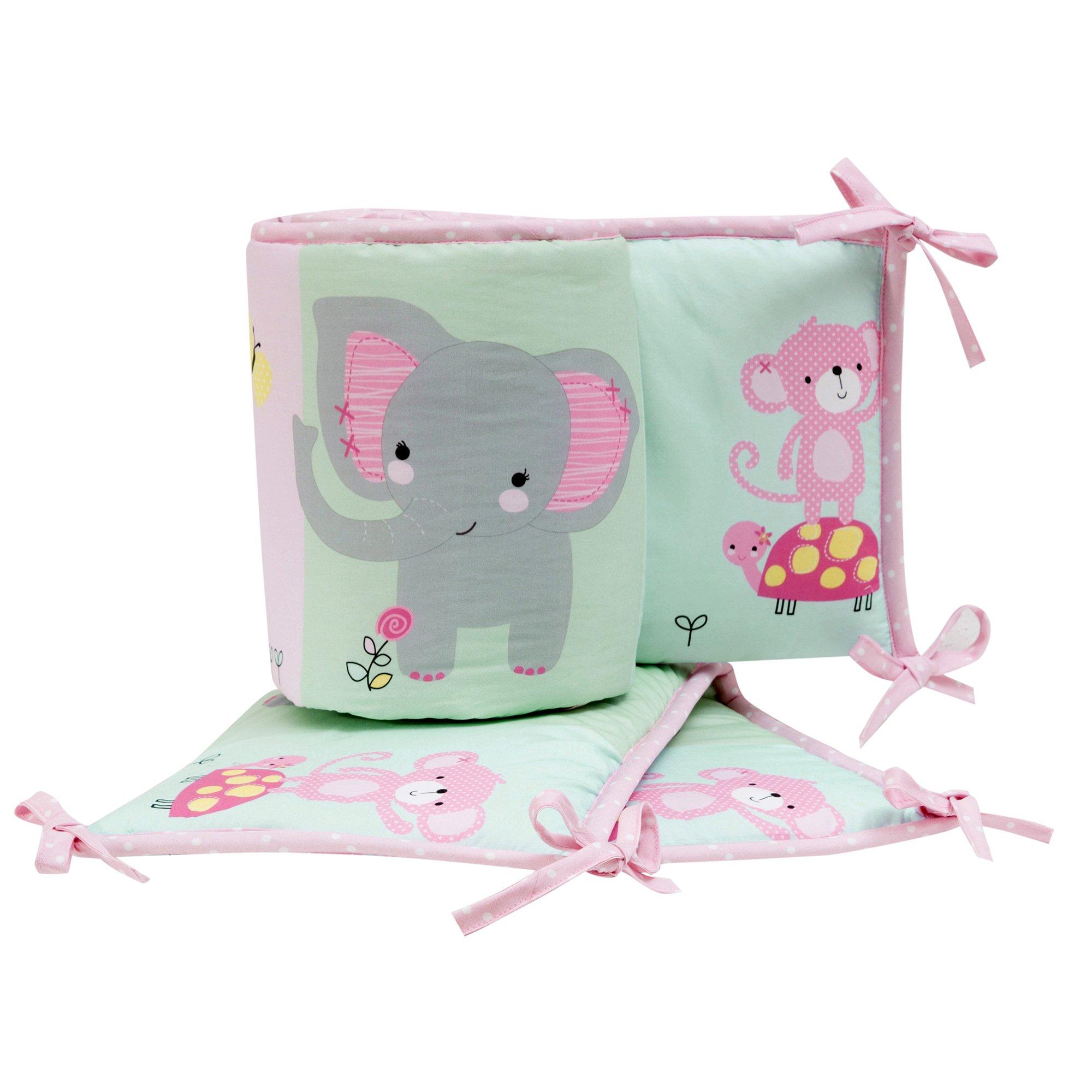 Bedtime Originals Twinkle Toes Multi Jungle 4 Piece Crib Bumper, Pink