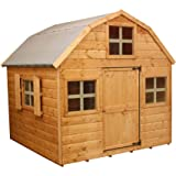 WALTONS EST. 1878 6x6 Wooden Garden Playhouse for kids. Shiplap Construction, dip treated with 10 Year Guarantee - Includes Dutch Barn style Roof, Felt and Floor, Safety Styrene Windows (6 x 6 / 6Ft x 6Ft) 3-5 Day Delivery