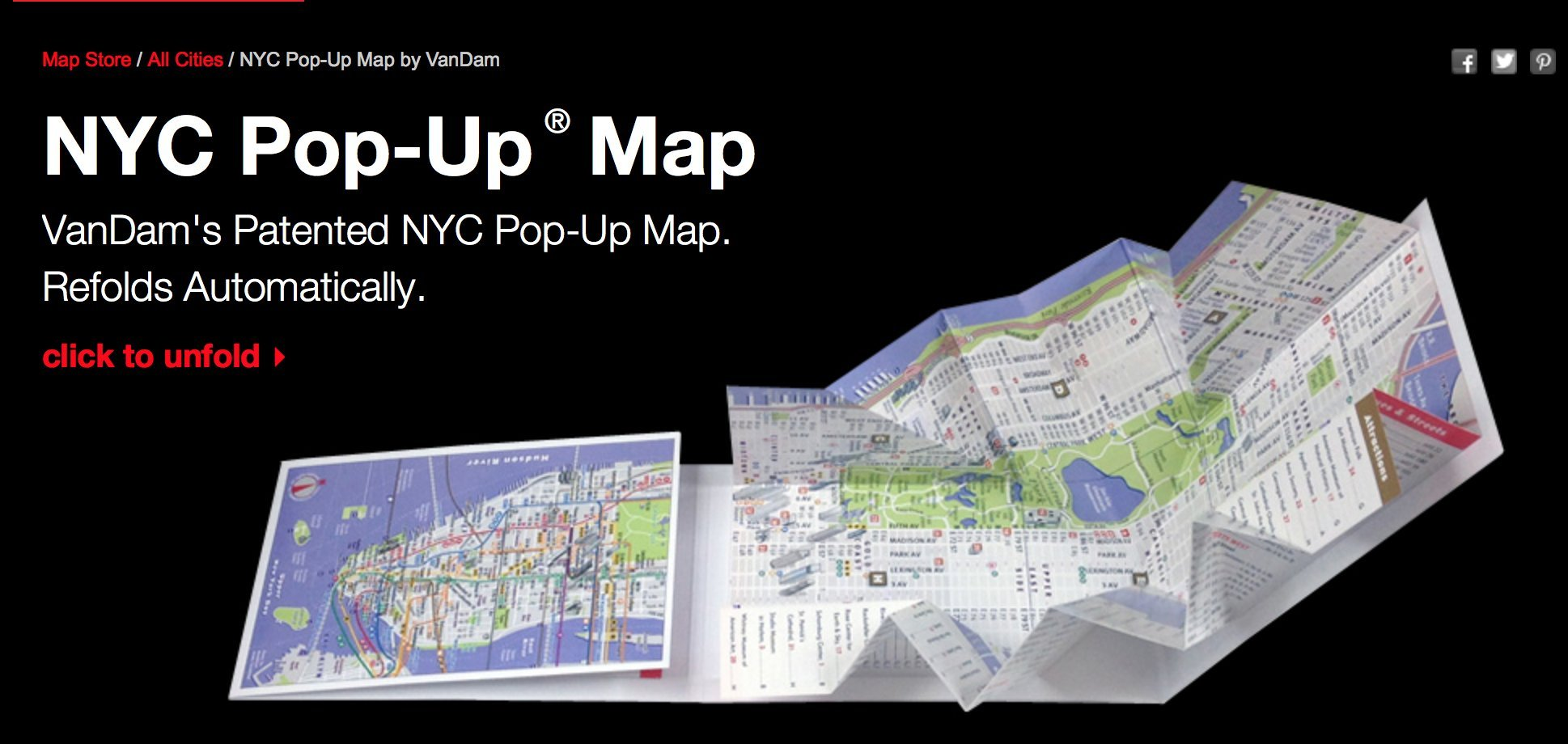 PopUp NYC Map By VanDam City Street Map Of New York City New - Nyc map oasis