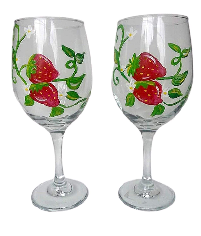 Amazon Com Red Strawberry Stemmed Hand Painted Wine Glasses Set Of 2 Fruit Home Decor Handmade