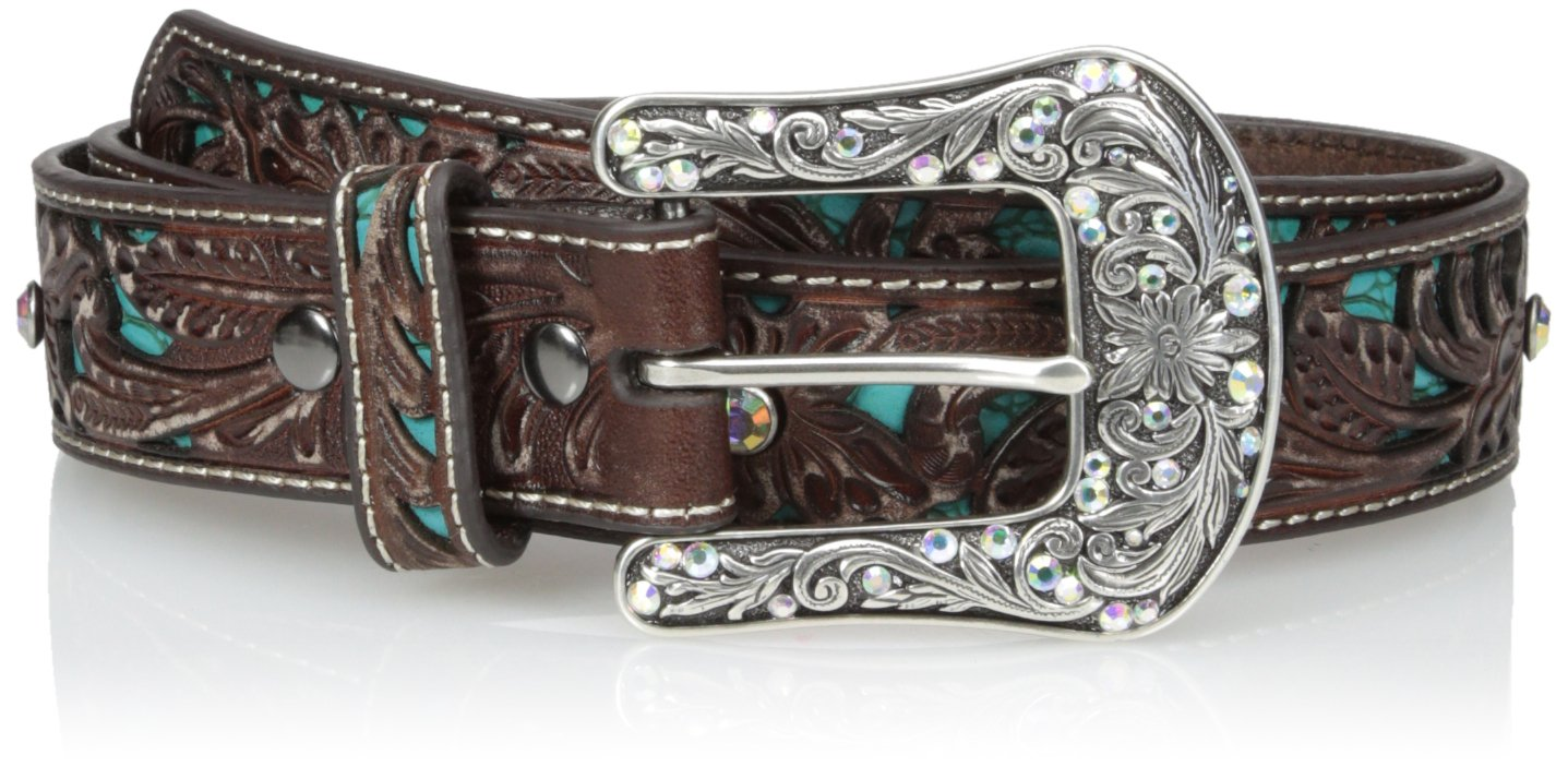 Ariat Women's Blue Inlay Floral Bling Belt, brown, Medium by ARIAT
